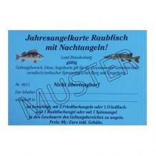 Jahresangelkarte Raubfisch mit Nachtangeln 2020